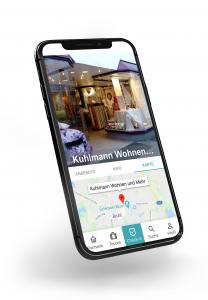 App Mockup HieroCity. Dein Erlebnis-Assistent. Die City App für Stadterlebnis Stadtmarketing Einzelhandel Gamification Events und Smart Shopping. Belebend durch den Shared Activity Builder (KI)